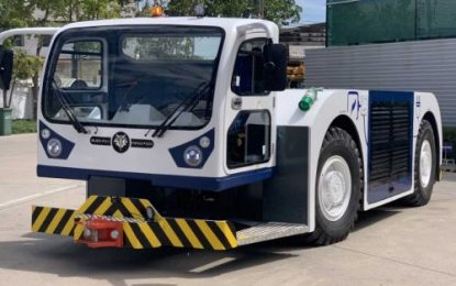 Fully-electric aircraft pushback tractor undergoing trials at major international airport